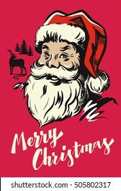 Portrait Santa Claus vector illustration on red