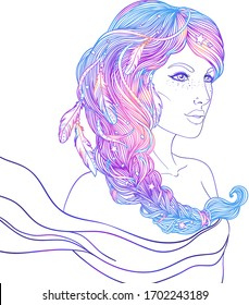 Portrait of Scorpio astrological sign as a beautiful girl. Zodiac vector illustration isolated on white. Future telling, horoscope, alchemy, spirituality, occultism. woman with braid and feathers.