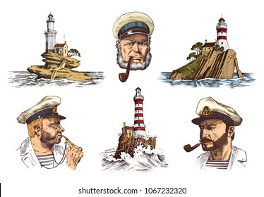 Portrait of a sea captain. Marine old sailor and Lighthouse. Bluejacket, whistle and seaman with beard or men seafarer. travel by ship or boat. engraved hand drawn vintage sketch. Boatswain with pipe.