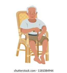 Portrait of a senior asian man sitting on wicker chair