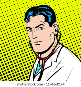 Portrait of Serious Doctor with Stethoscope, Looking Camera. Pop Art Comic book style, retro, vintage illustration