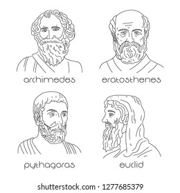 Portrait set of ancient greek mathematicians. Euclid, Archimedes, Eratosthenes, Pythagoras.