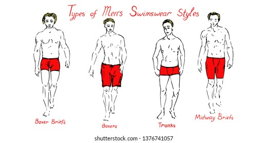 Portrait of sexy blonde guys in red boxer briefs, boxers, trunks and midway briefs shorts collection with inscription, hand drawn outline doodle, sketch vector illustration