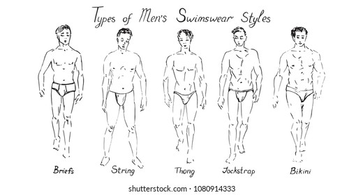 Portrait of sexy guys in briefs, strings, thong, jockstrap and bikini type of swimsuits collection with inscription, hand drawn doodle, sketch in pop art style, black and white vector illustration