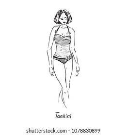 Portrait of sexy retro pin up girl in tankini type of swimsuit with inscription, hand drawn outline doodle, sketch in pop art style, black and white vector illustration