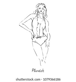 Portrait of sexy retro pin up girl in  plandzh type of one piece swimsuit with inscription, hand drawn outline doodle, sketch in pop art style, black and white vector illustration