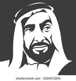 Portrait of  ( Sheikh Zayed )  Founder of United Arab Emirates ( UAE ) Vector illustration