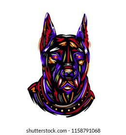 Portrait and silhouettes dog breed Doberman colorful hand drawing sketch vector illustration design art print