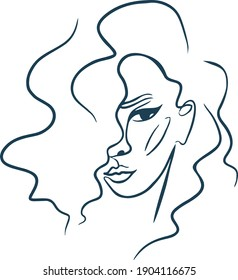 Portrait of a single line Female portrait vector Beautiful Girl Fashion Illustration