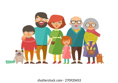 Portrait of six member happy stylish family posing together. Parents with kids, grandmother, grandfather, dog and cat. Vector colorful illustration in flat design isolated on white