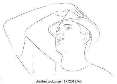 Portrait sketch of a guy straightening his hat with his hand