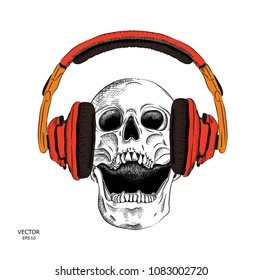 Portrait of a skull headphones. Can be used for printing on T-shirts, flyers, etc. Vector illustration
