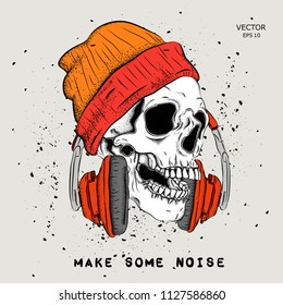 Portrait of a skull headphones and a hat. Can be used for printing on T-shirts, flyers, etc. Vector illustration