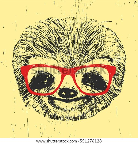 9f24bdcd52bb Royalty-free stock vector images ID  551276128. Portrait of Sloth with  glasses. Hand-drawn illustration. Vector. - Vector