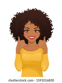 Portrait of smiling beatiful woman with afro hairstyle showing thumbs up isolated vector illustration
