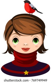 Portrait of smiling dark-haired girl dressed  in winter clothes. On head of girl sitting bullfinch. Vector.