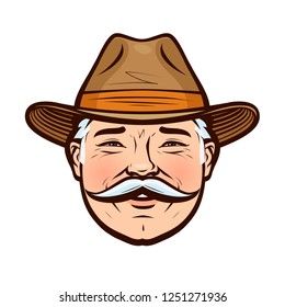 Portrait of a smiling farmer in a hat. Vector illustration