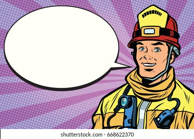 Portrait of a smiling fireman, comic book bubble. Pop art retro comic book vector illustration