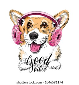 Portrait of the smiling funny Corgi dog in the Headphones with pink Donuts. Humor card, t-shirt composition, hand drawn style print. Vector illustration.