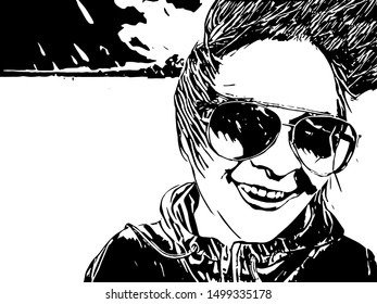 Portrait of the smiling girl in sunglasses