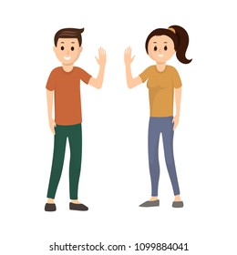 Portrait of smiling happy woman and man waving hello to somebody flat vector illustration. Cheerful people in casual clothes greeting someone. Isolated on white background