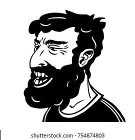 Portrait of a smiling middle aged hipster. Hand-drawn vector illustration.