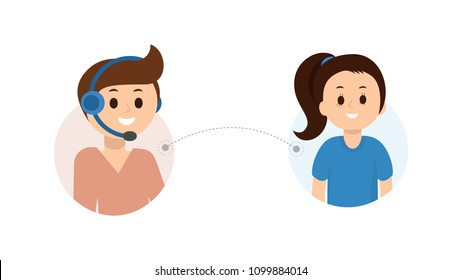 Portrait of smiling operator of call center in headset consulting client. Helpline service 24/7 concept. Flat style design. Isolated on white background