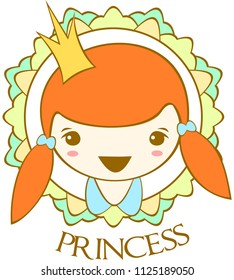 """""""Portrait сute smiling princess with hairstyle two ponytails. Vector."""
