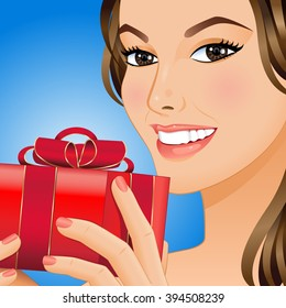 Portrait a smiling woman with gift box in her hands. Vector illustration.
