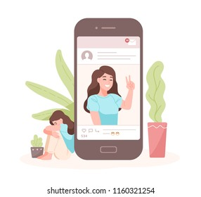 Portrait of smiling woman on smartphone screen against crying one on background. Concept of fake life on social media or network. Imitation of happiness, welfare, success. Cartoon vector illustration.