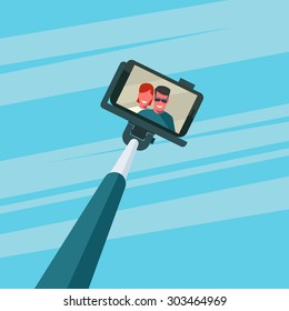 Portrait of smiling young couple on smartphone. Selfie stick monopod. Abstract sky background. Vector illustration.