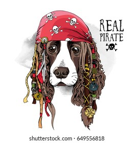 Portrait of a Spaniel dog in Pirate bandana and with a dreadlocks. Vector illustration.