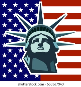 Portrait of the Statue of Liberty on the background of the US flag. Dark green illustration. Patterns presentations. national symbol of America. Poster, logo vector