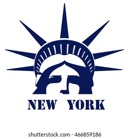 Portrait of the Statue of Liberty USA. New York. Light blue logo on a white background. American symbol. Vector illustration EPS 10