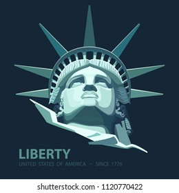 Portrait. Statue of Liberty USA, poster. 2018. Blue Linear Image. New York. National Symbol of America. Illustration, black background.Use presentations, corporate reports, emblems, label,logo, vector