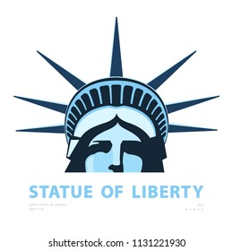 Portrait. Statue of Liberty USA, poster. 2018. Blue Linear Image. New York. National Symbol of America. Illustration white background. Use presentations,corporate reports, emblems, labels,logo, vector