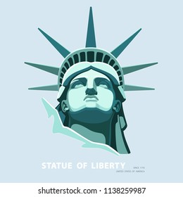 Portrait. Statue of Liberty USA, poster. Green Linear Image. New York. National Symbol of America. Illustration, gray background. Use presentations, corporate reports, emblems, label, logo, vector