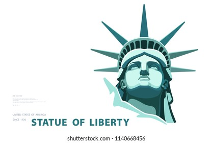 Portrait. Statue of Liberty USA, poster. Green Linear Image. New York. National Symbol of America. Illustration, white background. Use presentations, corporate reports, emblems, label, logo, vector
