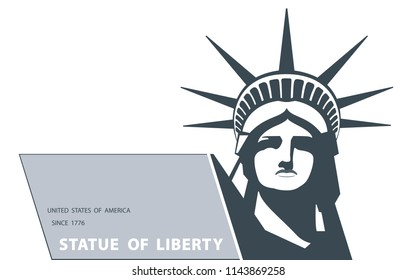 Portrait. Statue of Liberty USA, poster. Gray, white line drawing. New York. National Symbol of America.Illustration, white background.Use presentations, corporate reports, emblems, labels,logo,vector