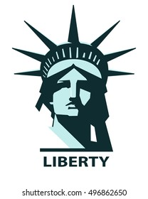 Portrait of the Statue of Liberty USA. Turquoise and green pattern on a white background. New York. A sculpture of copper. American symbol.logo, vector illustration EPS 10
