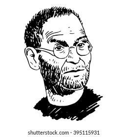 Portrait of Steve Jobs. California, USA, 2010. Sketch by hand. Vector illustration.
