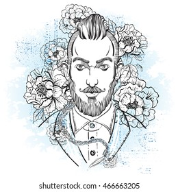 Portrait of stylish fashion bearded man. High detailed Trendy Vector illustration. Boho style. Peony flower background.