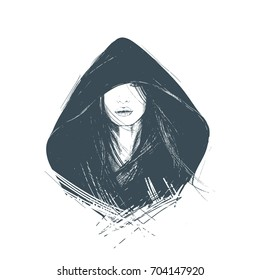 Portrait of a stylish, steep girl, hiding under a hood. A sketch. Suitable for tattoo