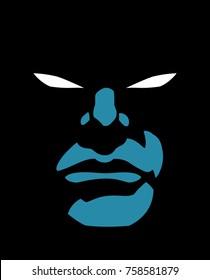 Portrait of superhero in the dark with glowing eyes.
