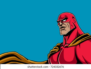 Portrait of superhero in red costume and yellow cape.