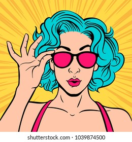 Portrait surprised girl in glasses. For party invitation, birthday card, sale banner… Vector colorful background in pop art retro comic style.
