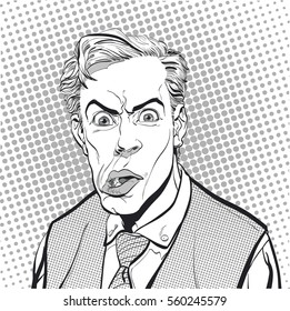 Portrait of surprised man. Surprised businessman. Surprised man. Concept idea of advertisement and promo. Pop art retro style illustration. People in retro style. Halftone background. Man's face.