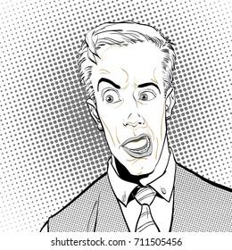 Portrait of surprised man. Surprised businessman. Surprised man. Pop art retro style illustration. People in retro style.