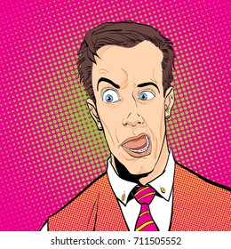 Portrait of surprised man. Surprised businessman. Surprised man. Pop art retro style illustration. People in retro style.