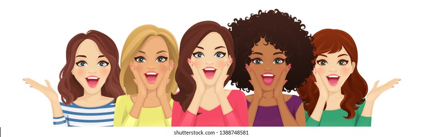 Portrait of surprised mixed race women with open mouth isolated vector illustration